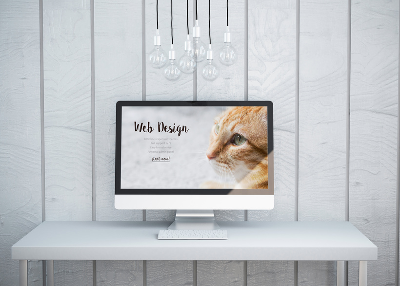 Modern Computer Screen with a Website Sketch
